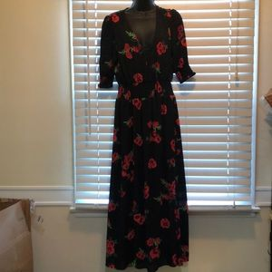 Express floral and black maxi dress M